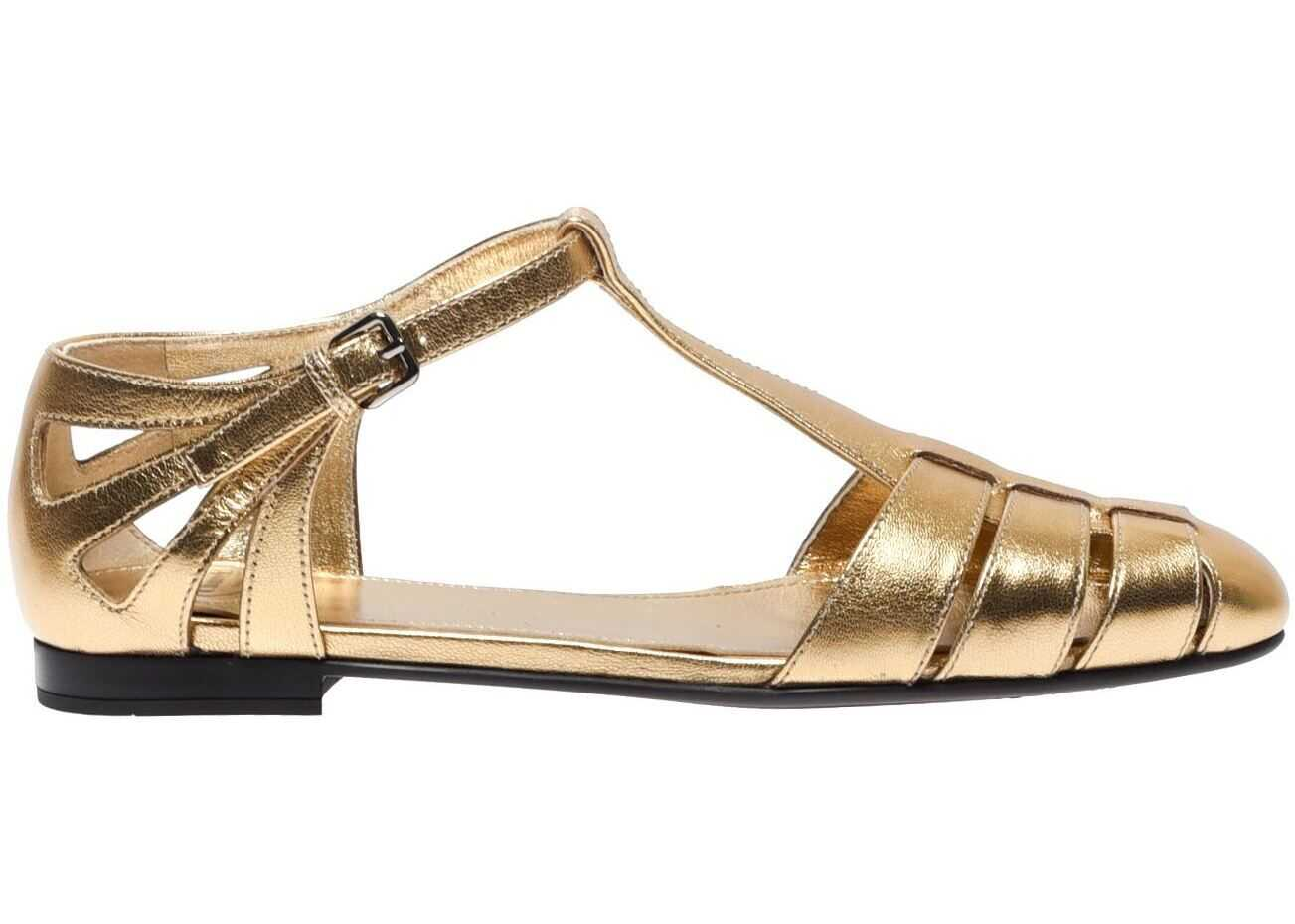 Church`s Laminated Sandals In Gold Color Gold
