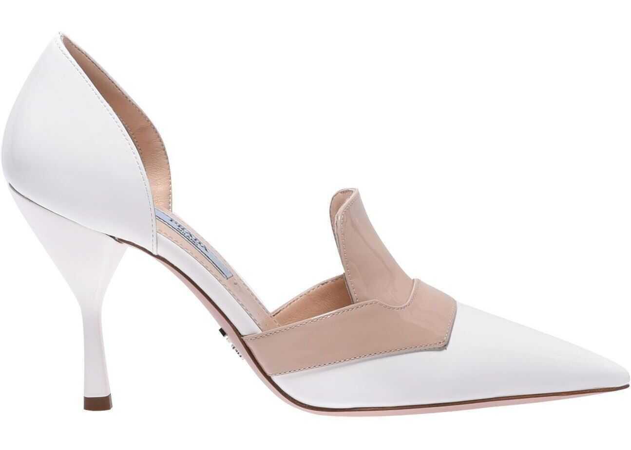 Prada Prada Bicolor Patent Leather Sandals White