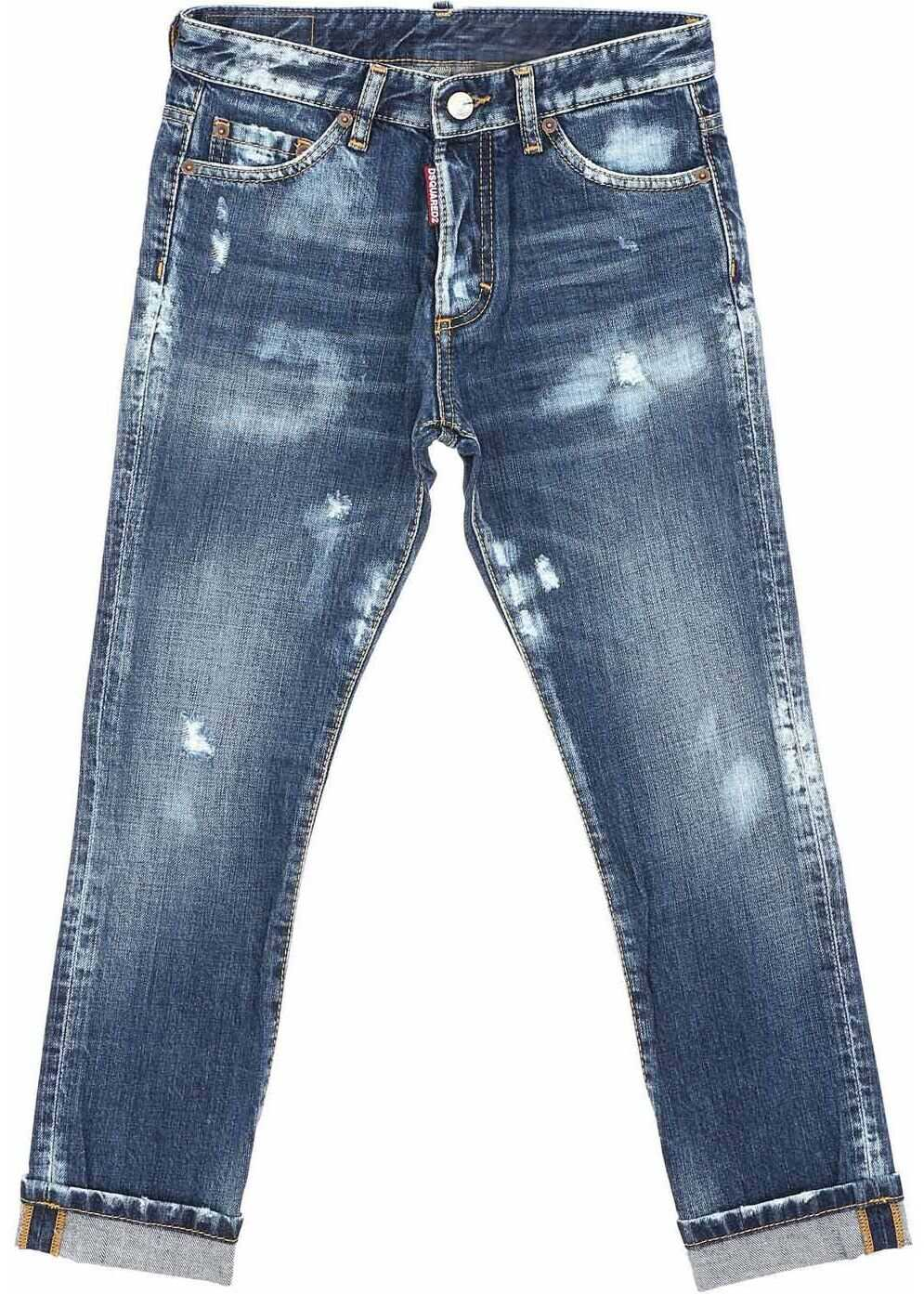 Glam Head Blue Vintage Effect Jeans