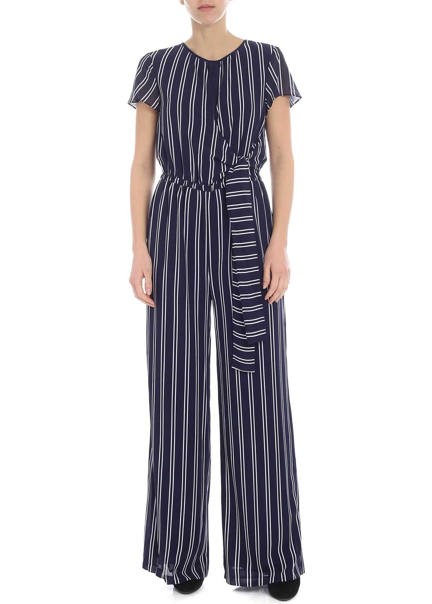 Blue Jumpsuit With White Stripes