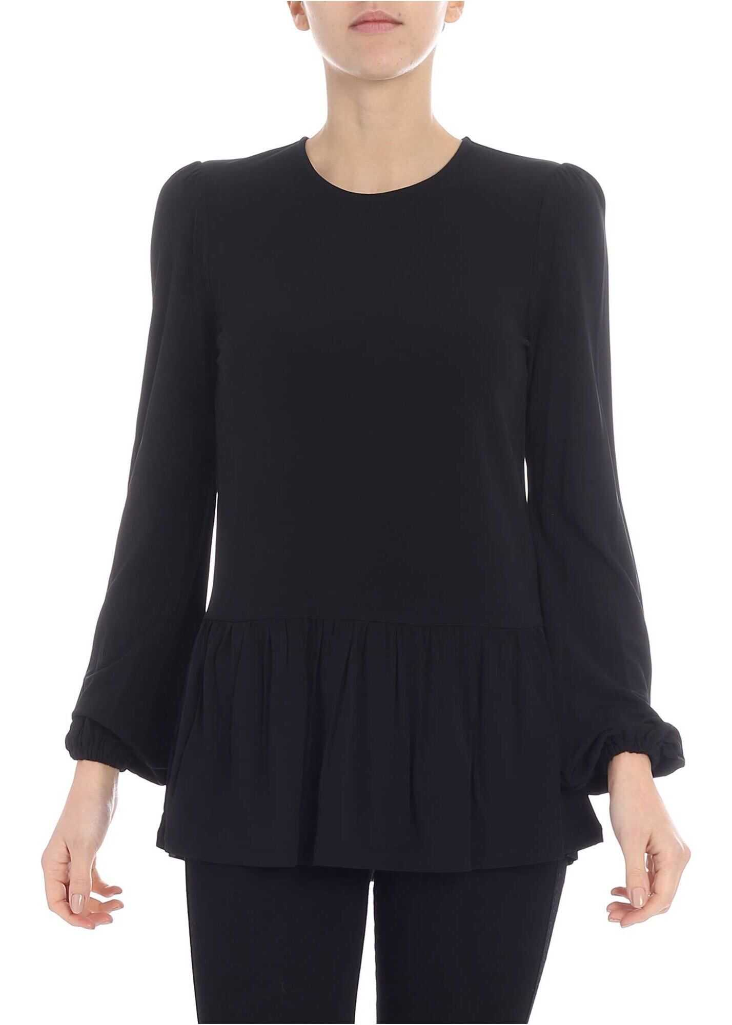 Black T-Shirt With Flounce