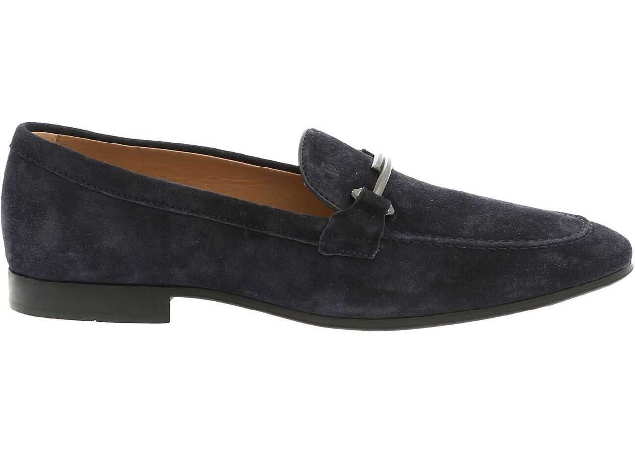 TOD'S Double T Logo Loafers In Blue Suede XXM06B0Z250BYEU824 Blue imagine b-mall.ro