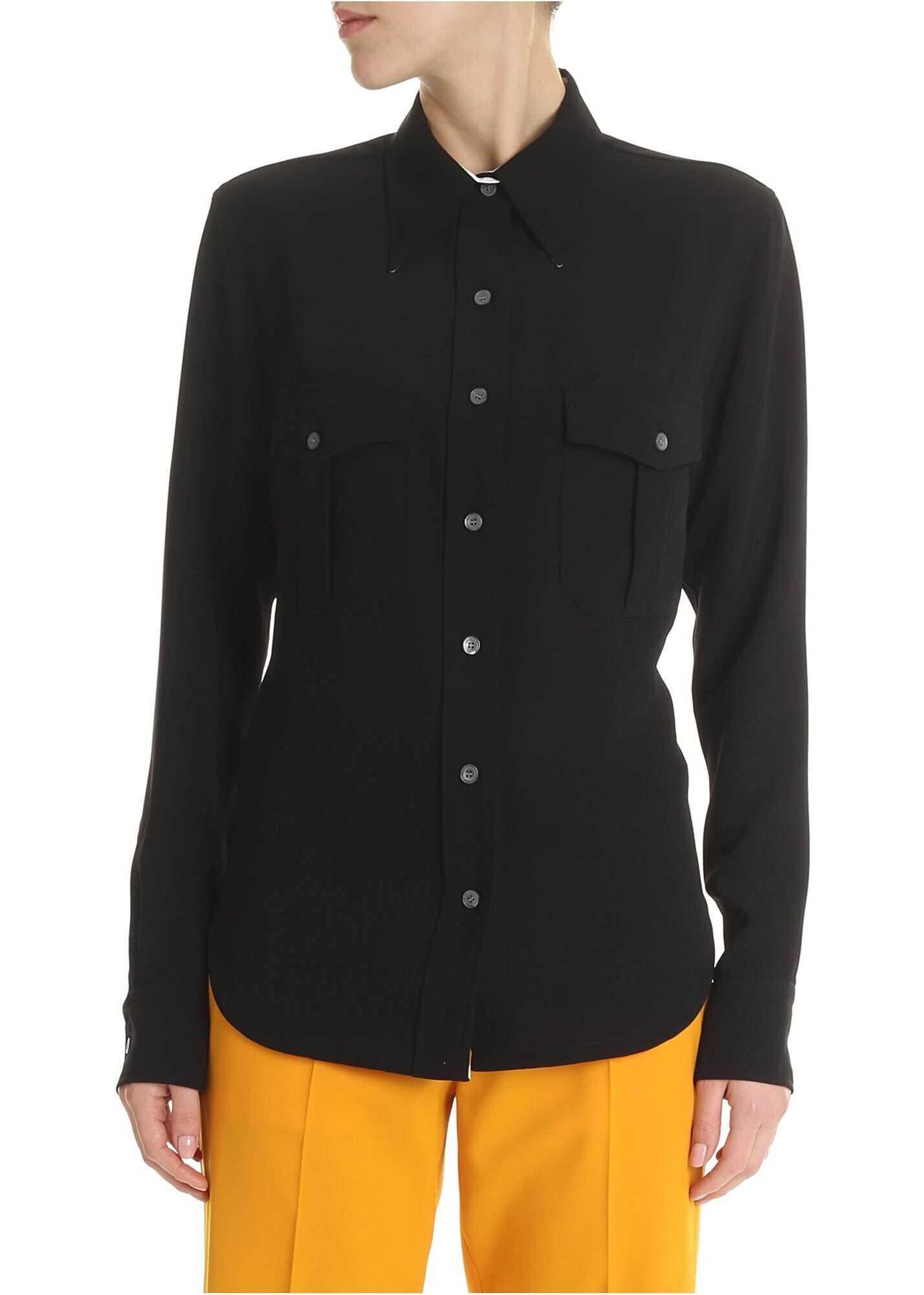 Calvin Klein Black Shirt In Diagonal Fabric Black