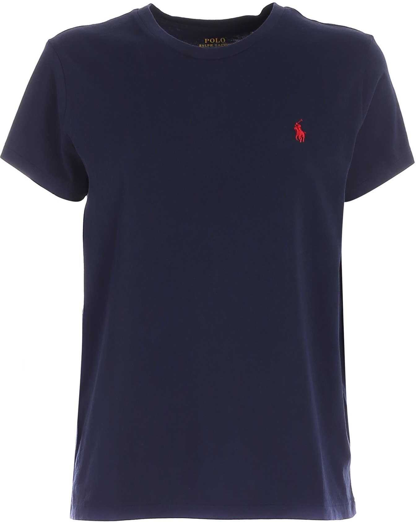 Blue Denim T-Shirt With Contrasting Logo