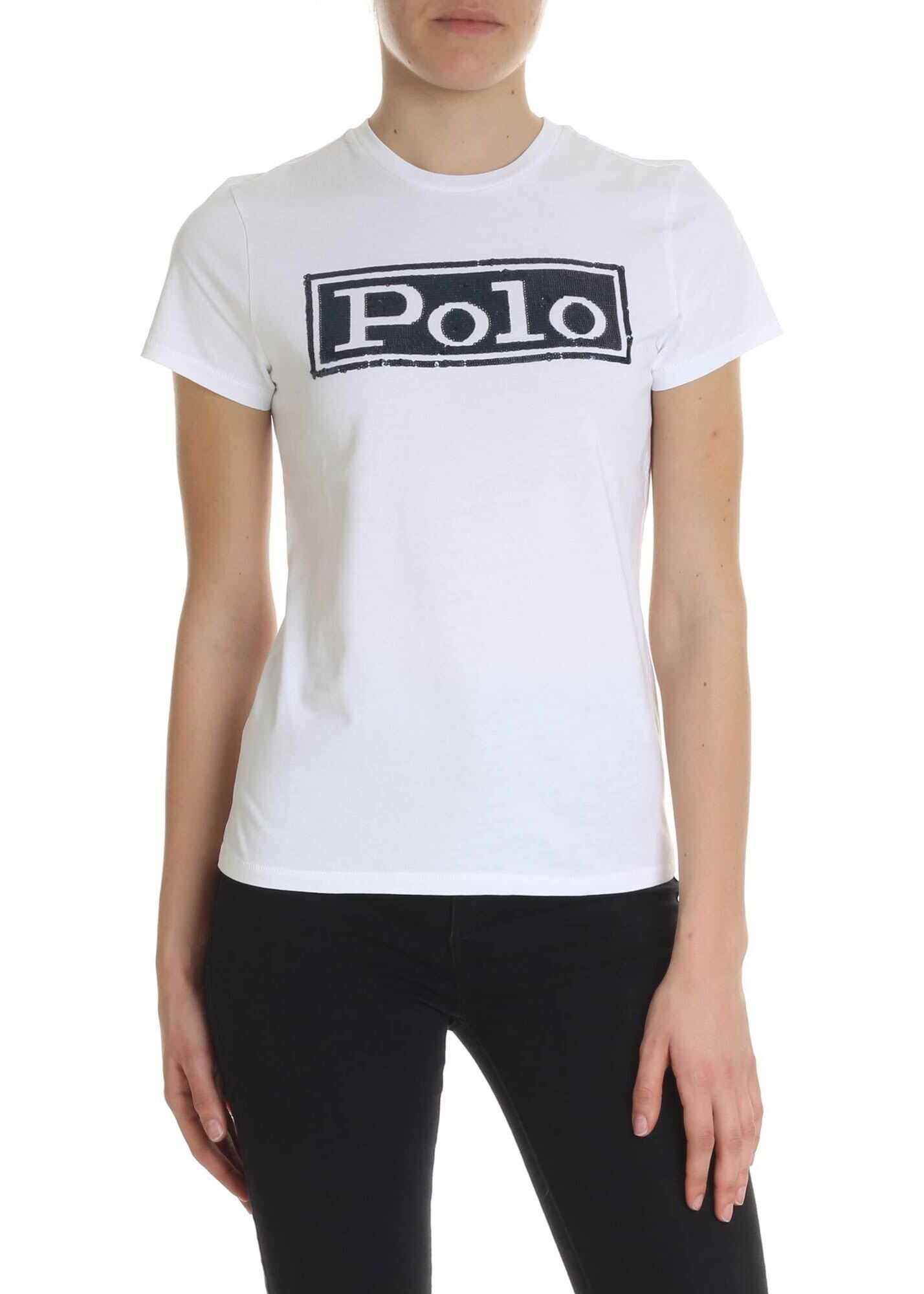 Ralph Lauren White T-Shirt With Sequin Logo White