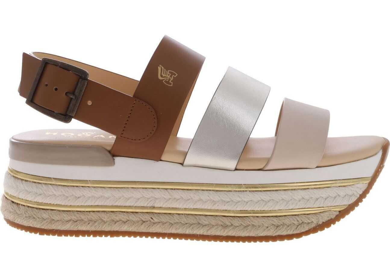 Hogan H432 Sandals In Contrasting Stripes Brown