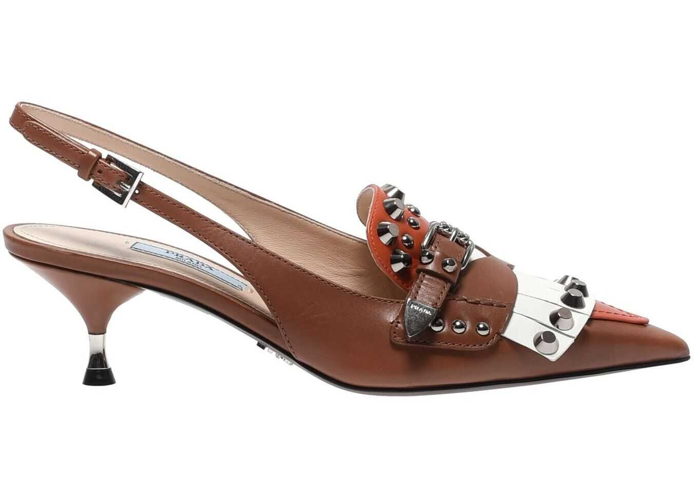 Prada Brown And Orange Slingback With Studs Brown