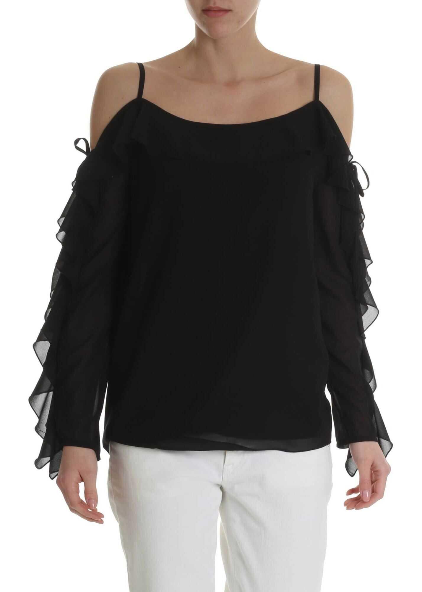 Blugirl Black Off-Shoulder Top With Ruffles Black
