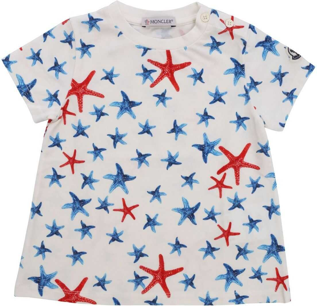 Moncler Jr T-Shirt With Starfish Pattern