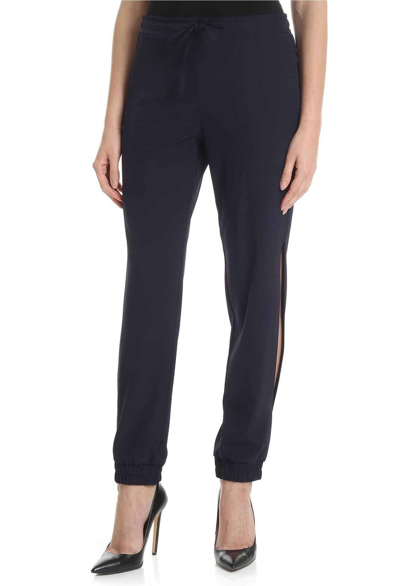 Blugirl Blue Jogging Trousers In Crepe Blue