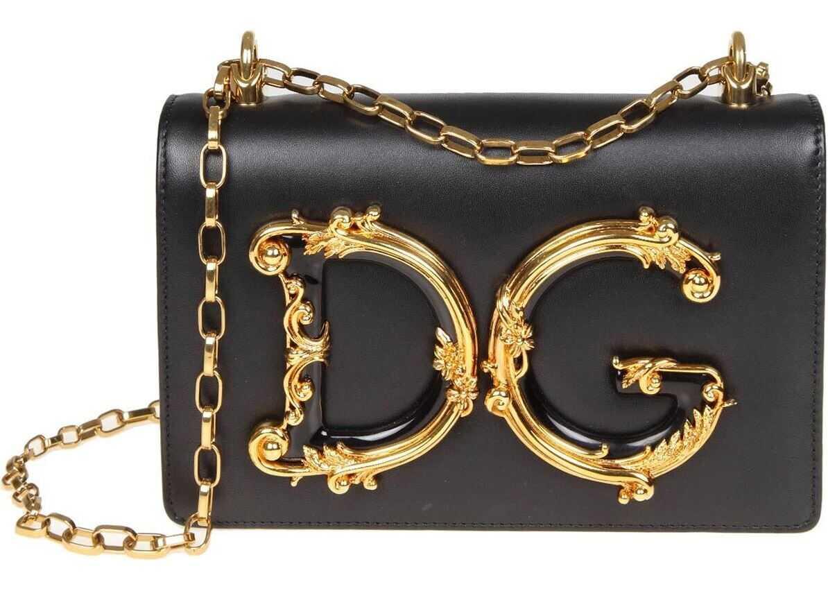 Dolce & Gabbana Black D&g Bag With Baroque Logo Black