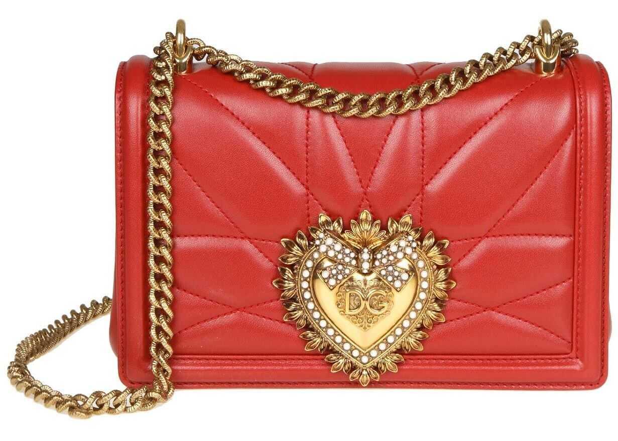 Dolce & Gabbana Medium Devotion Bag In Red Matelassé Nappa Leather BB6652 AV967 87124 Red imagine b-mall.ro