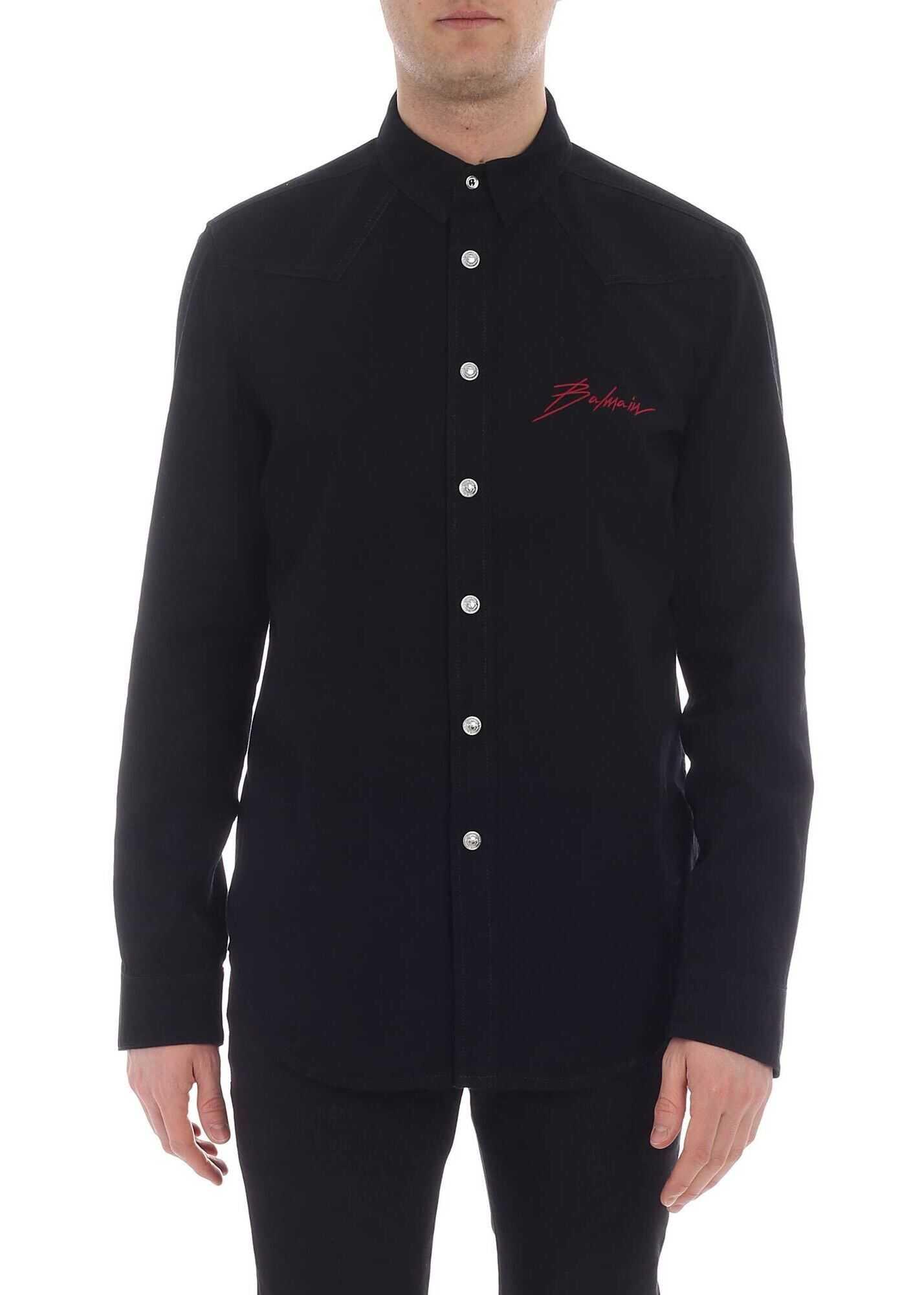 Balmain Black Denim Shirt Black imagine