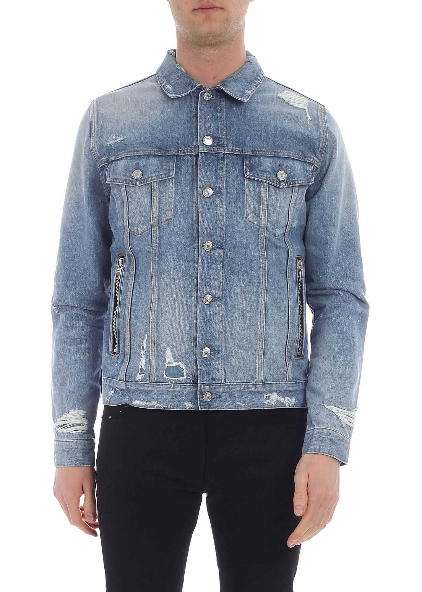 Balmain Light Blue Denim Jacket Light Blue imagine