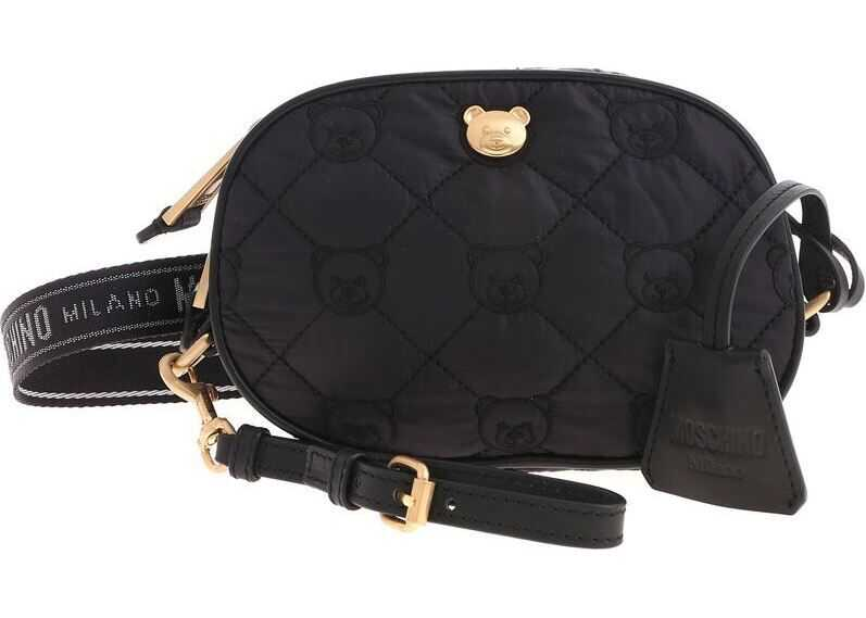 Moschino Black Baby Carrier With Teddy Bear Embroidery Black