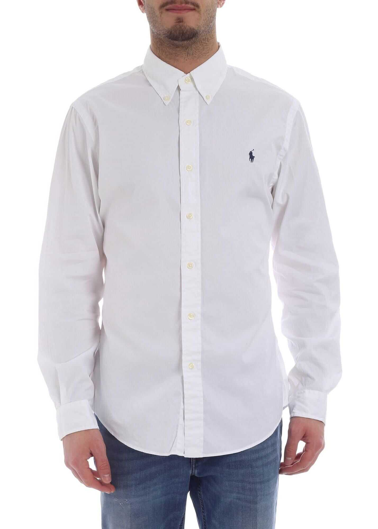 Ralph Lauren White Shirt With Blue Logo Embroidery White imagine
