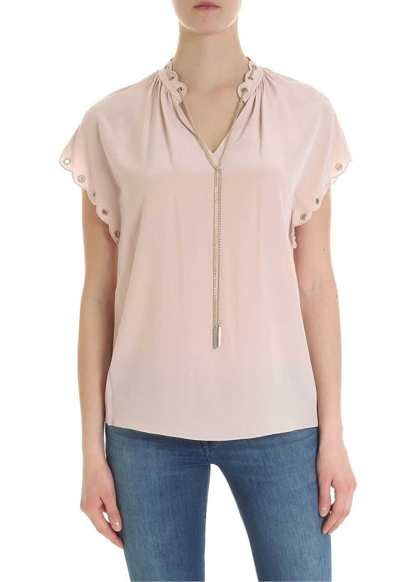 Blouse In Pure Pink Silk