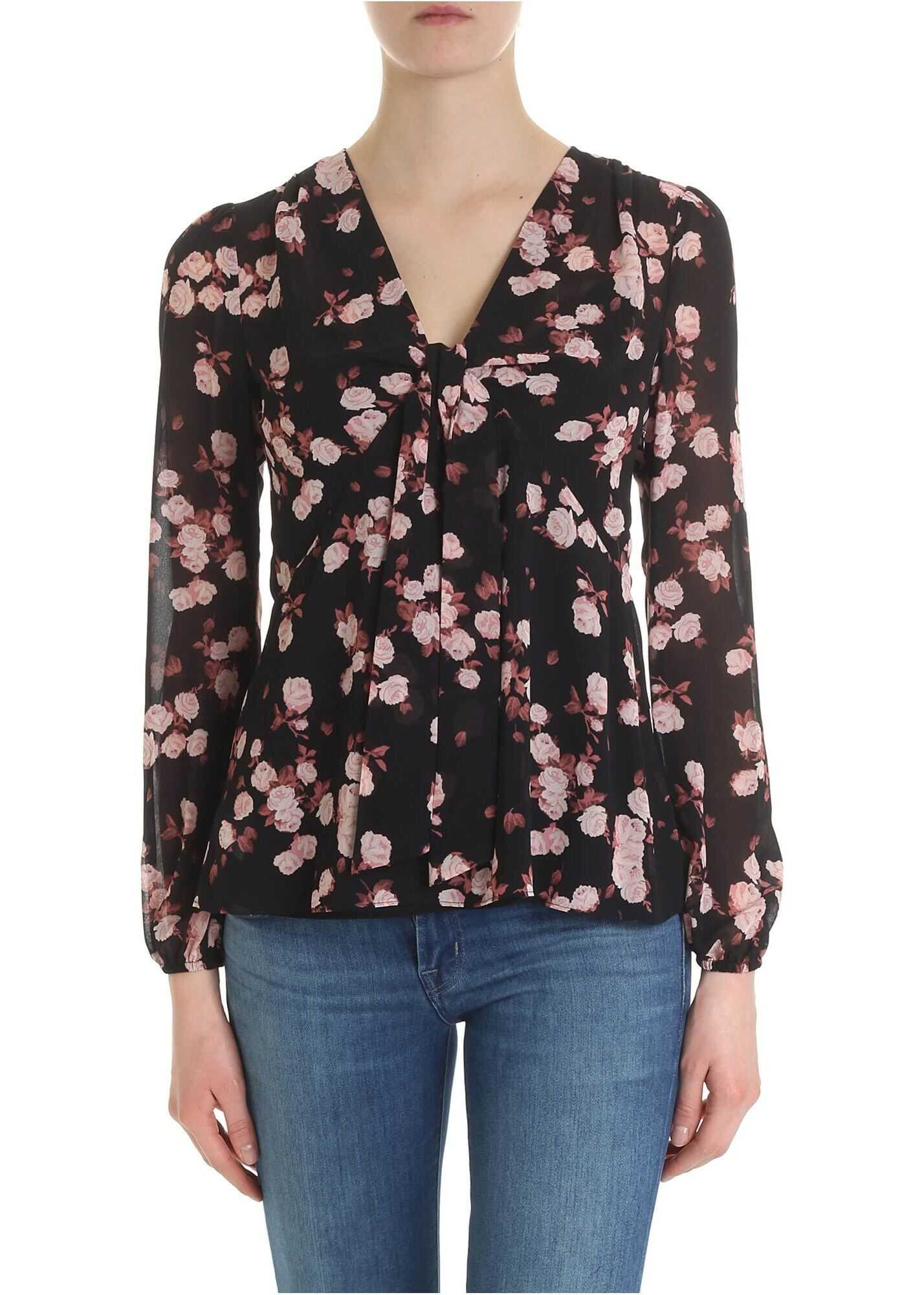 Black Blouse With Rose Print