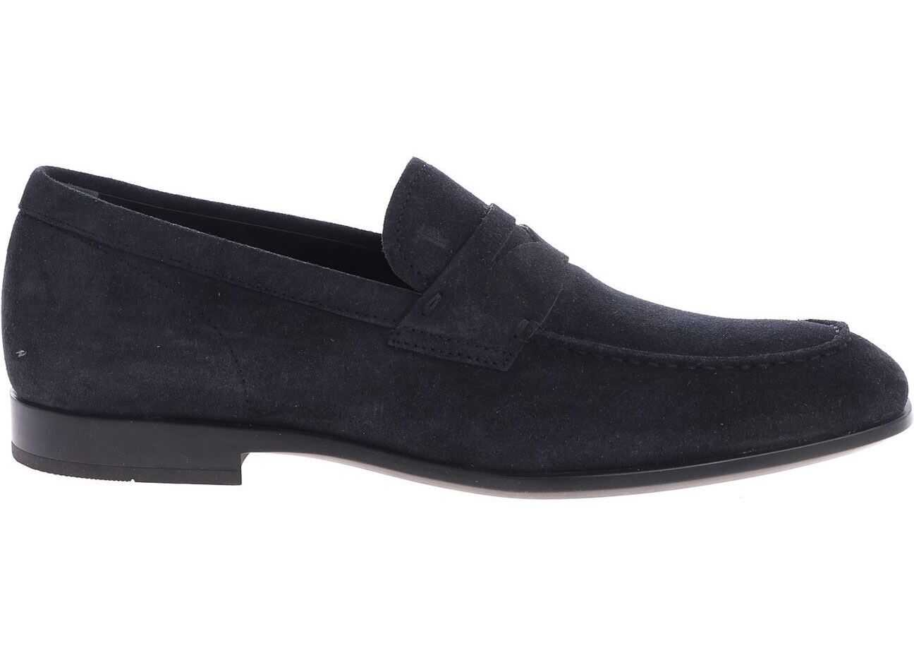 TOD'S Blue Suede Loafers Blue
