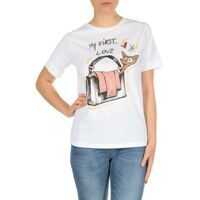 Tricouri Elisabetta Franchi White T-Shirt With My First Love Print