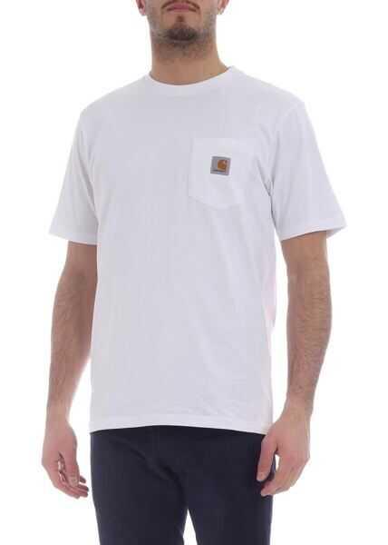 Tricouri Barbati Carhartt White Crew-Neck T-Shirt With Logo