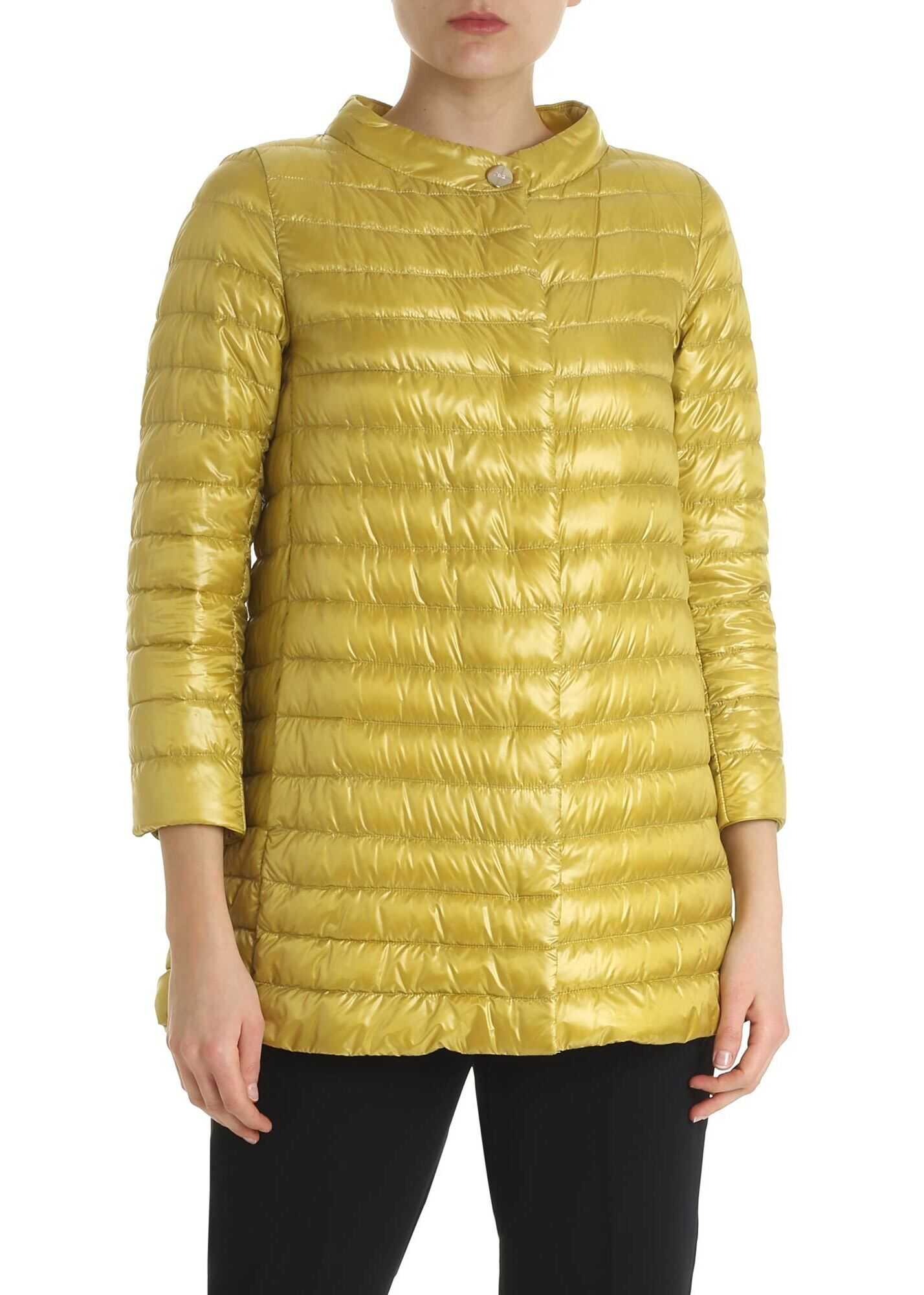 Herno Ocher Colored Rossella Down Jacket Yellow