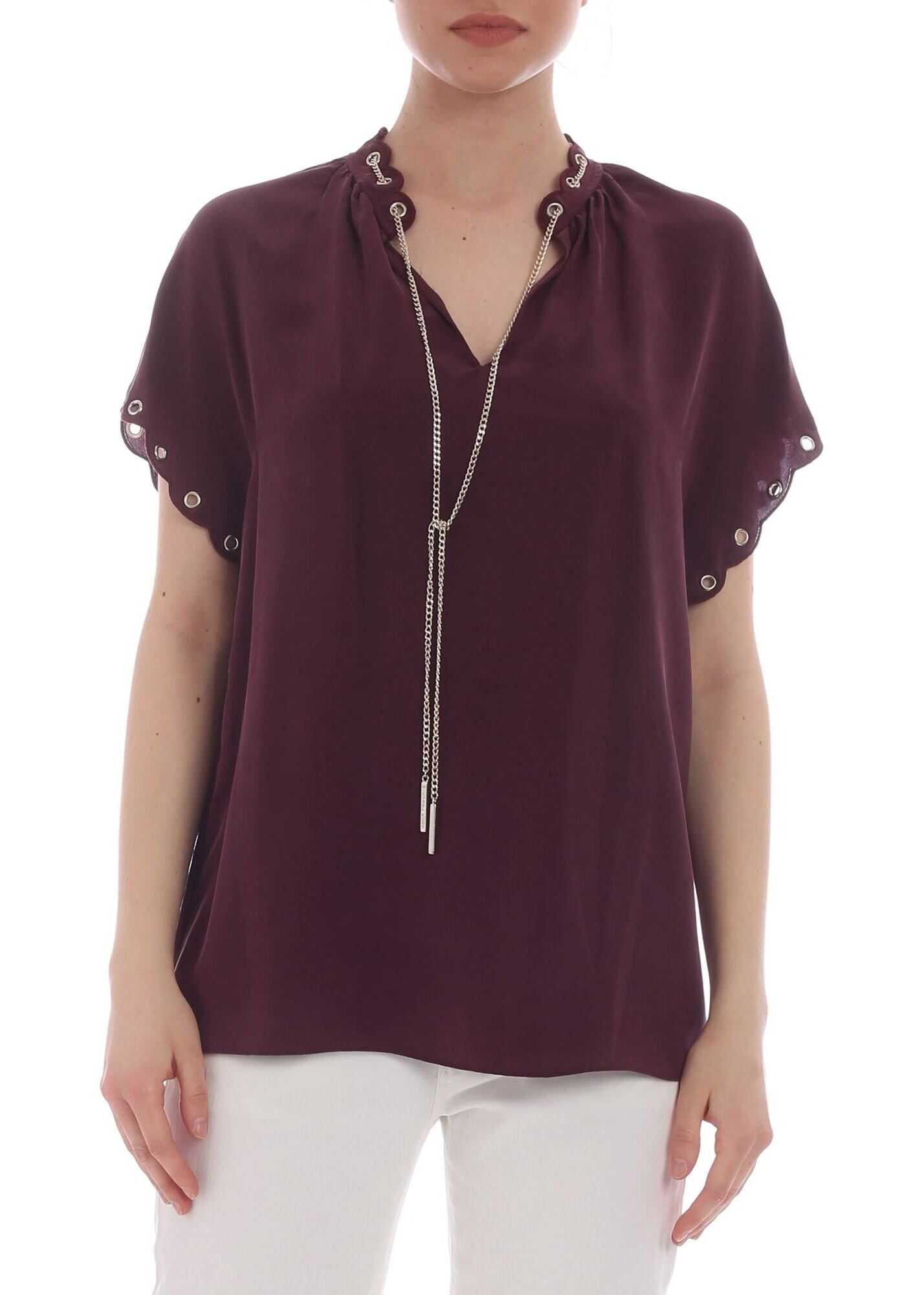 Pure Plum-Colored Silk Blouse