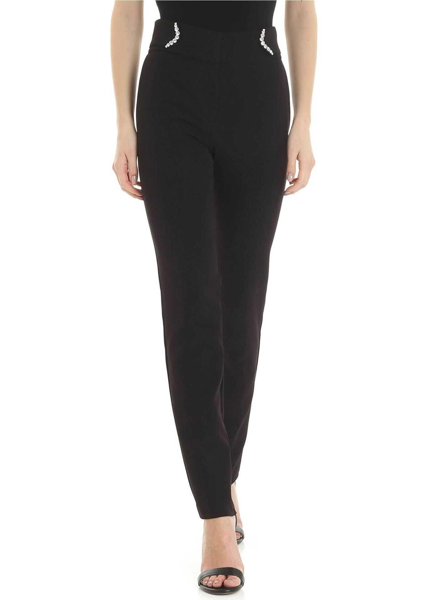 Blugirl Black Trousers With Jewel Embellishment Black