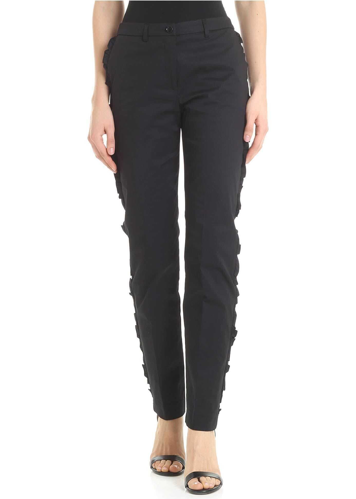 Blugirl Black Ruffled Trousers Black