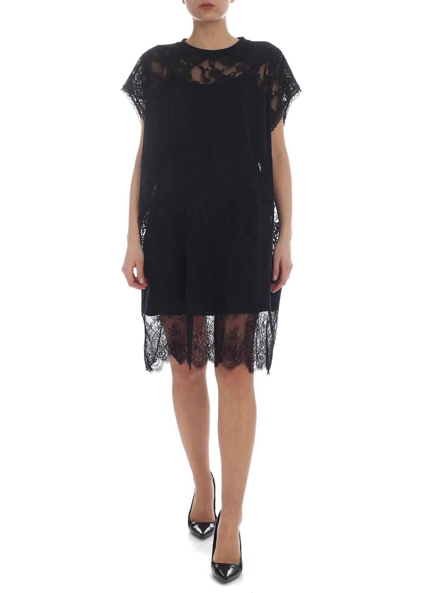 MCQ Alexander McQueen Mcq Dress In Black With Lace Inserts Black
