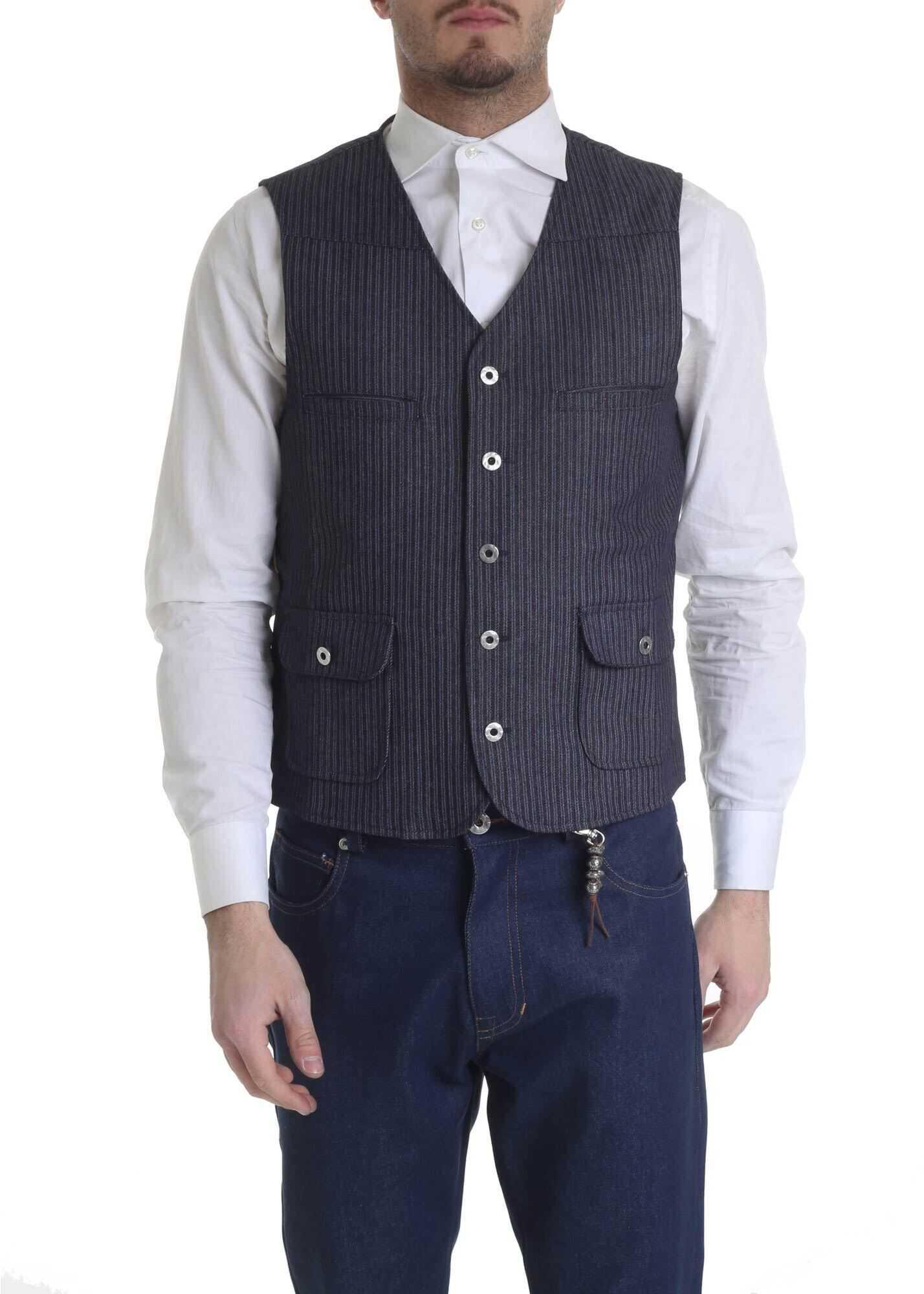 Ribbon Clothing Blue And White Waistcoat With Stripes Blue imagine
