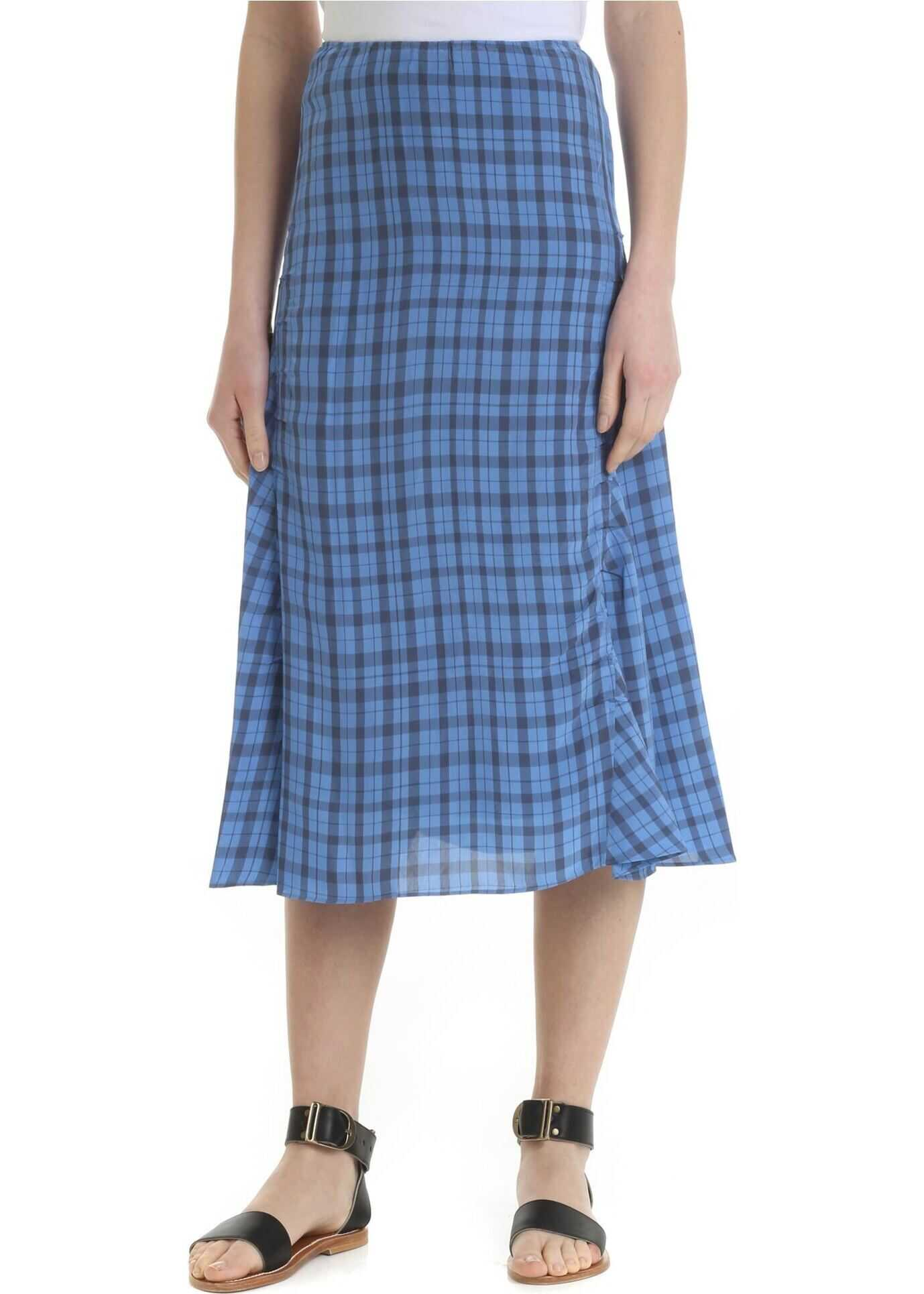 Acne Studios Blue Skirt With Checked Pattern Light Blue