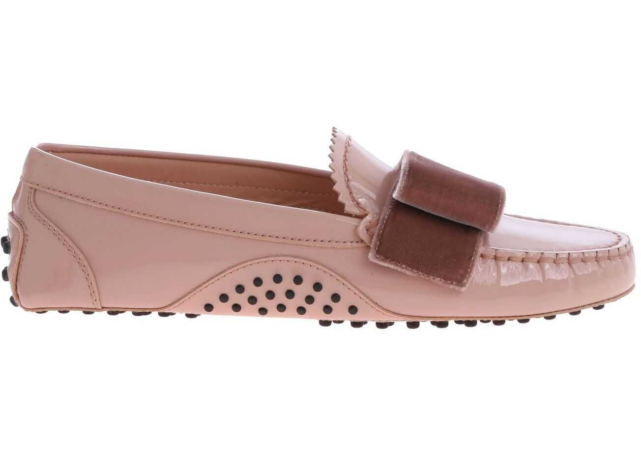 TOD'S Pink Loafers With Velvet Bow XXW00G0BI81L64M030 Pink imagine b-mall.ro