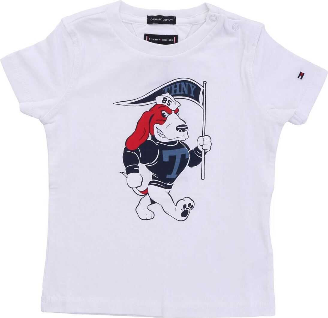 White T-Shirt With Red And Blue Basset Hound Print