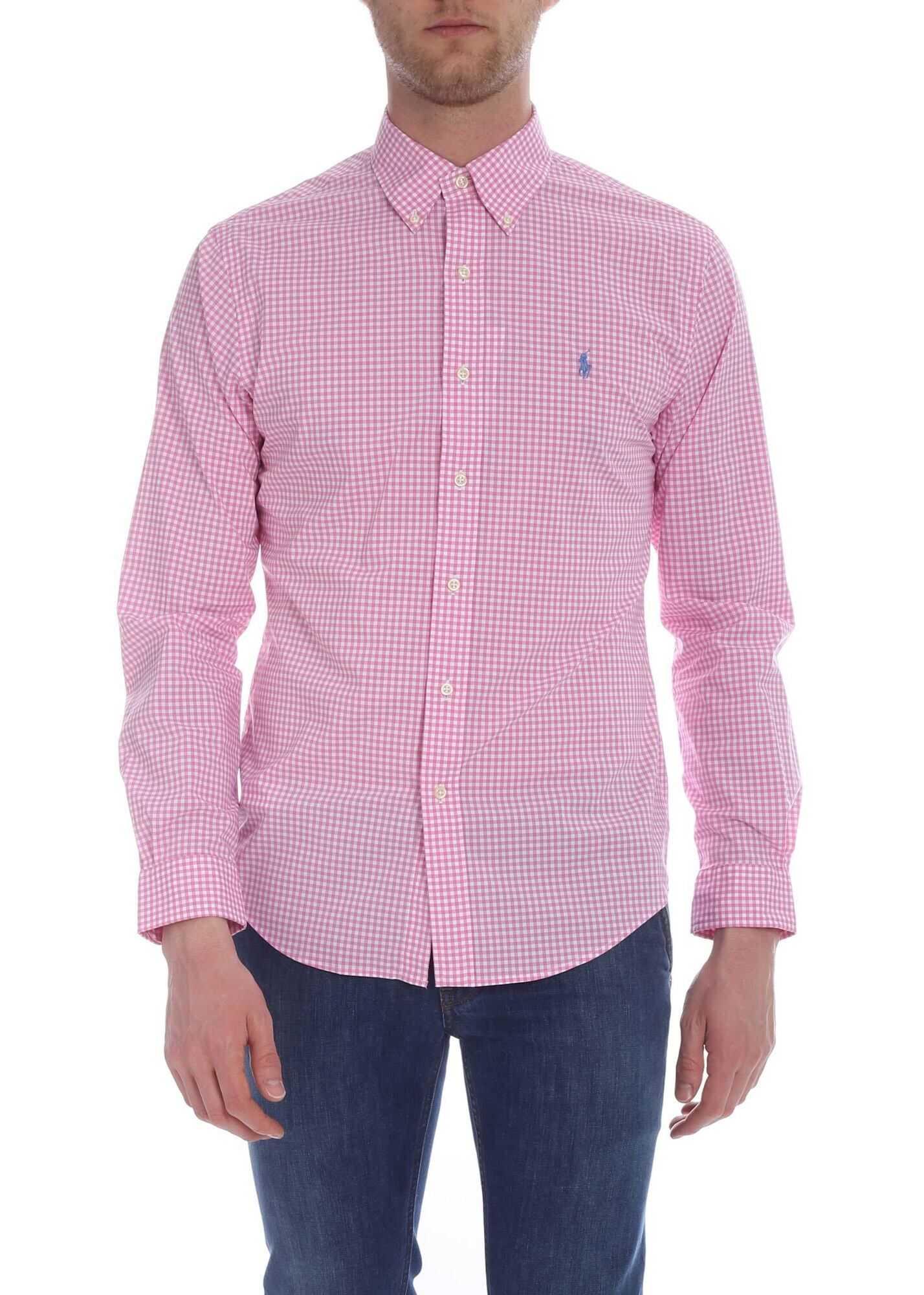 Ralph Lauren White And Pink Checked Shirt Pink imagine