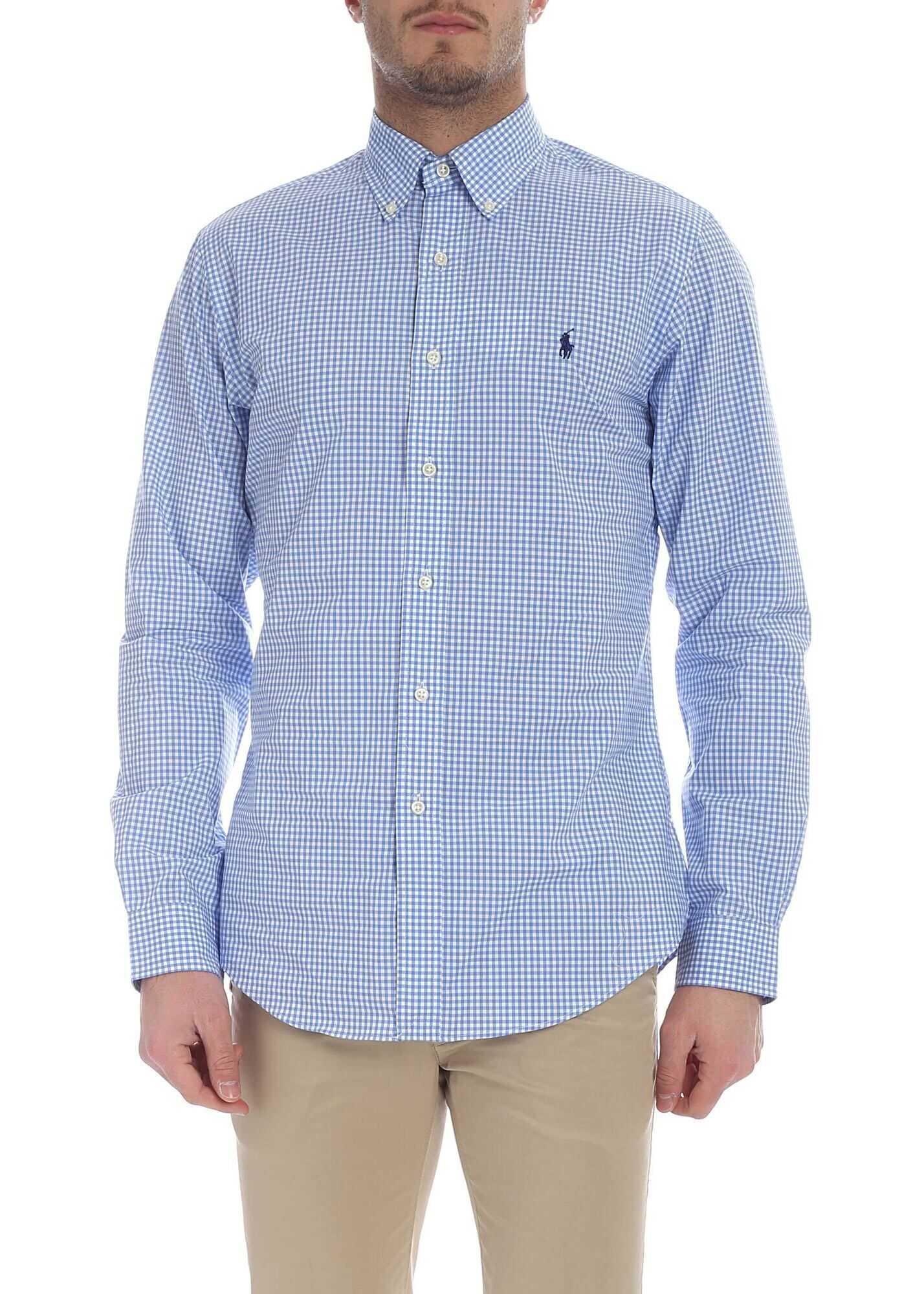 Ralph Lauren White And Light Blue Checked Shirt Light Blue imagine