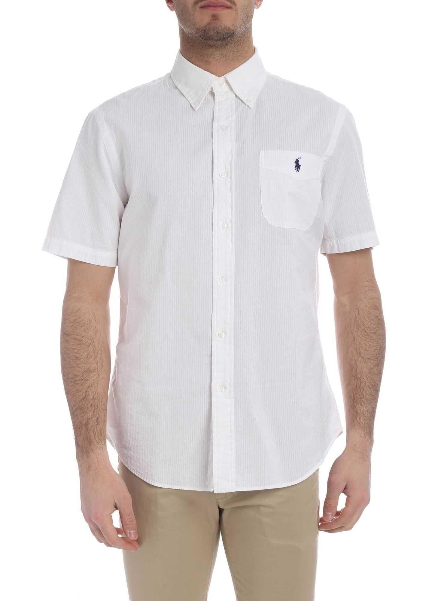Ralph Lauren Short Sleeve Striped Shirt In White White imagine