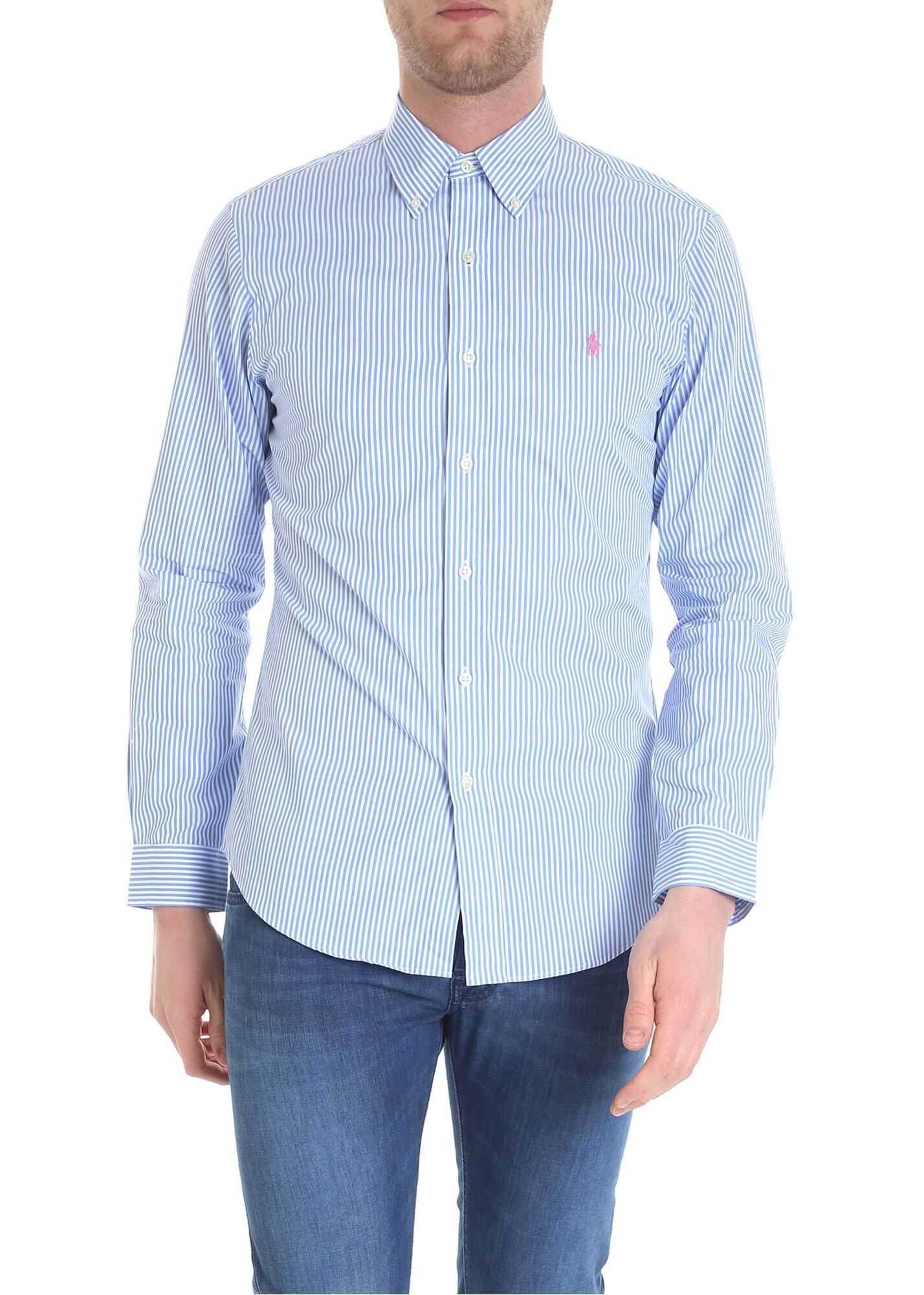 Ralph Lauren Blue And White Button Down Shirt Light Blue imagine