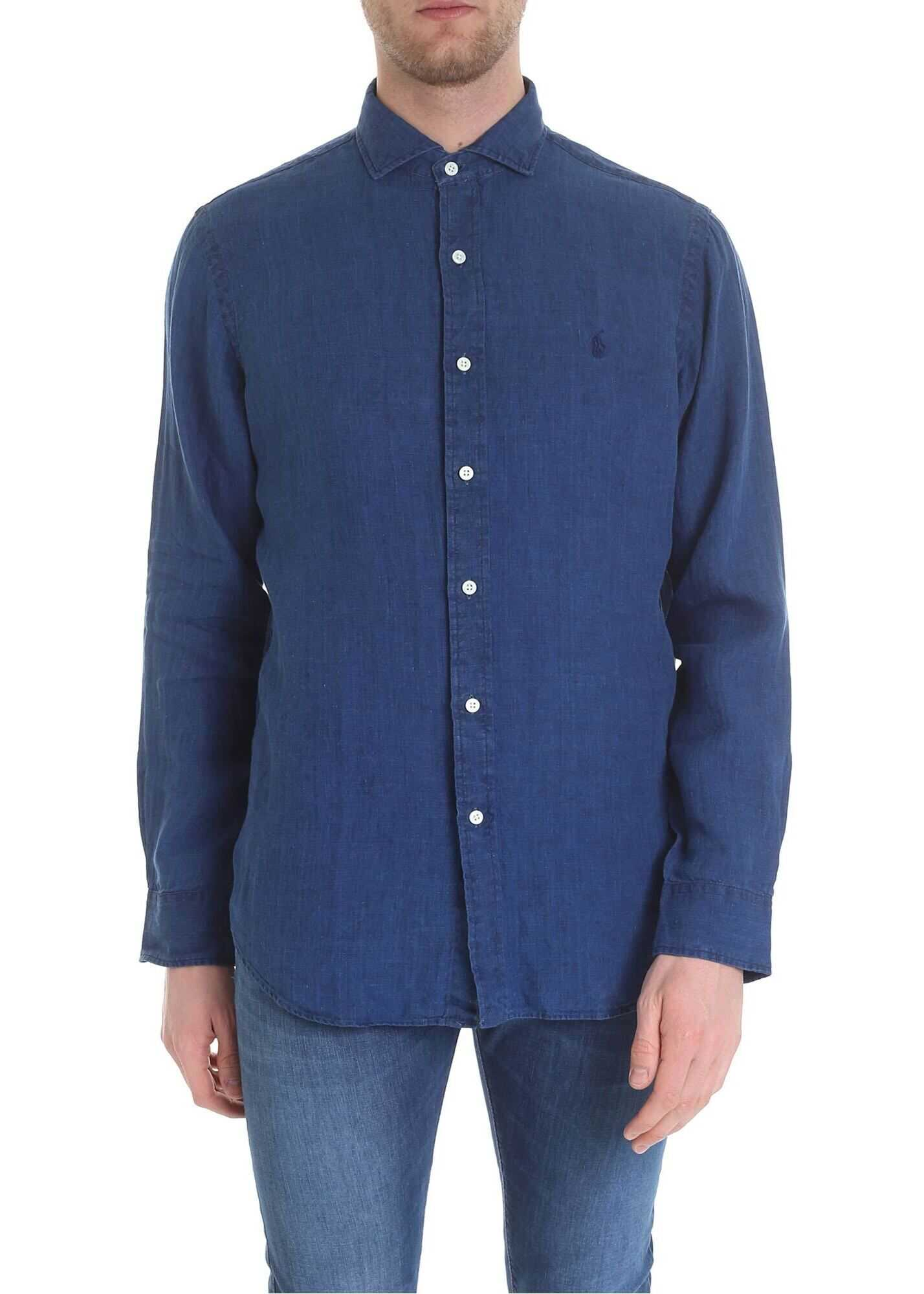 Ralph Lauren Blue Linen Shirt Blue imagine