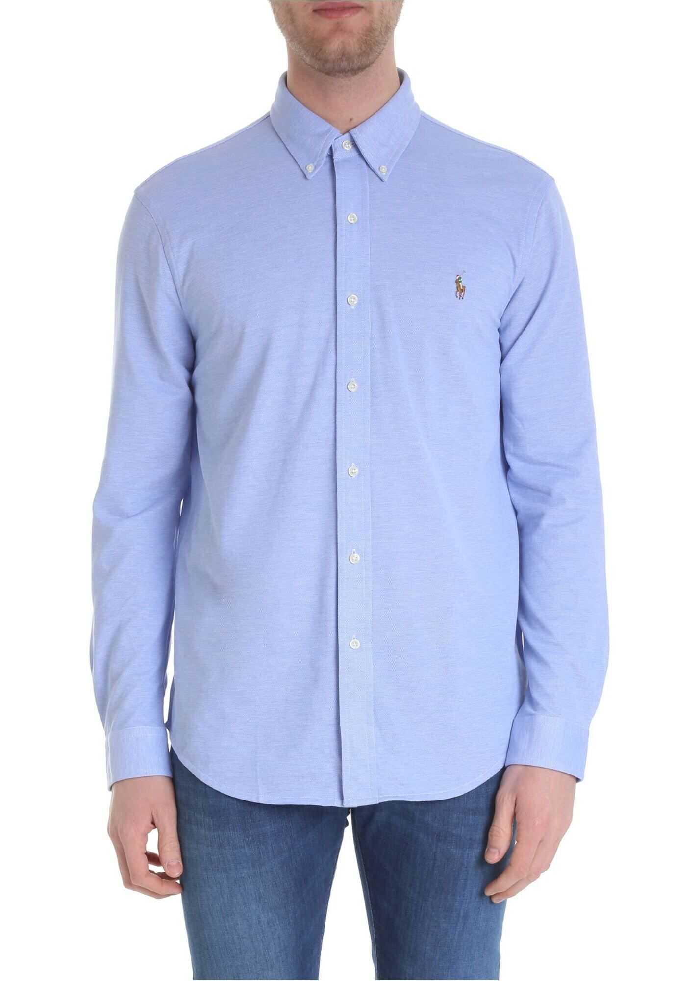 Ralph Lauren Blue And White Oxford Shirt Light Blue imagine