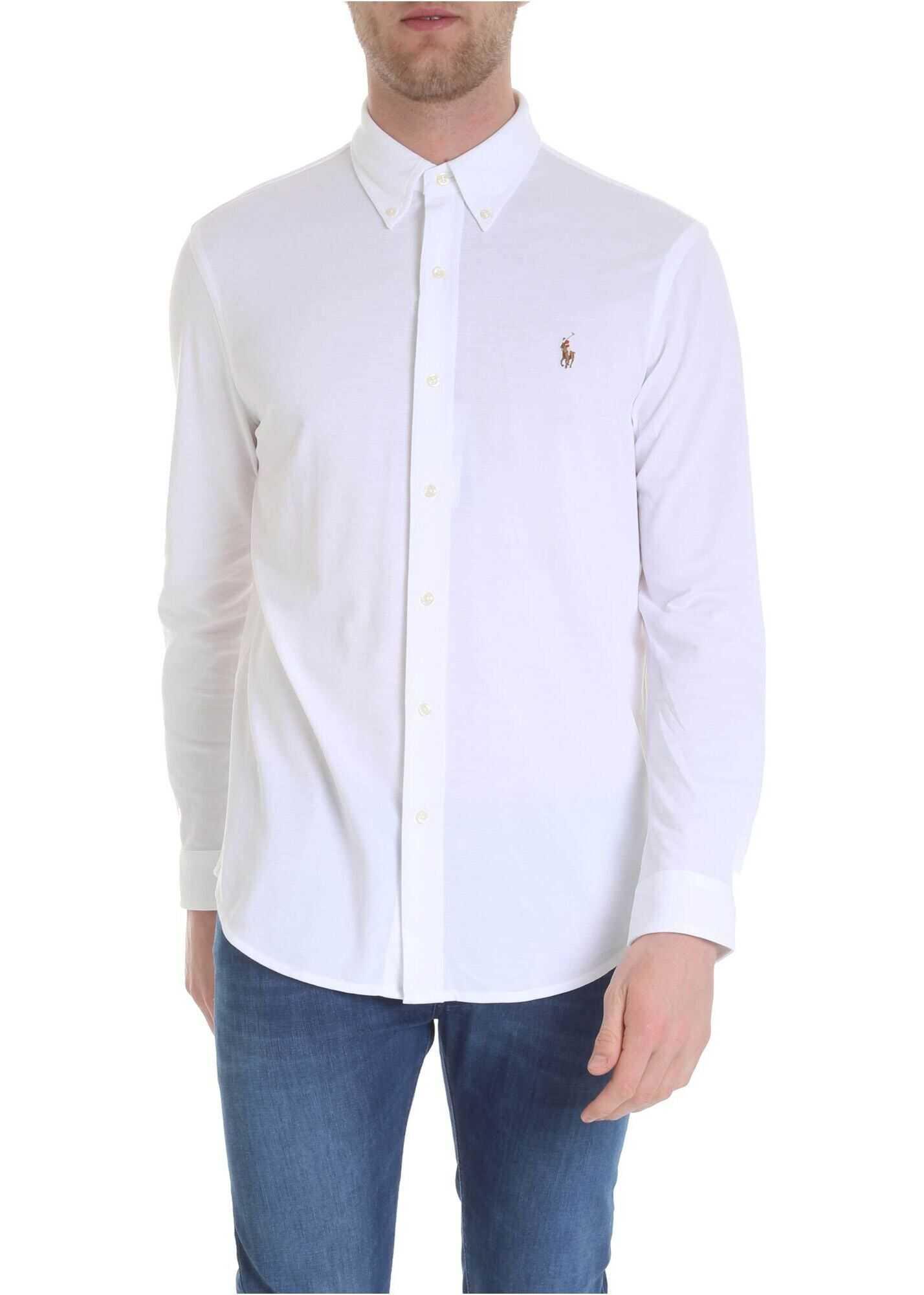Ralph Lauren White Button-Down Oxford Shirt White imagine