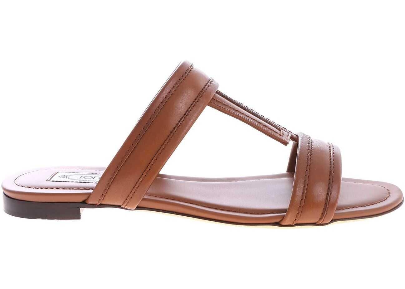 Tan Leather Slides