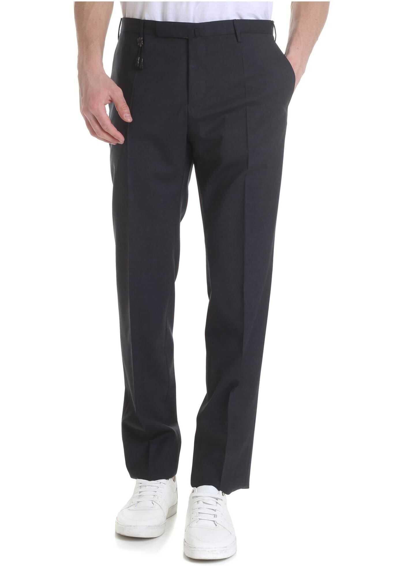 Incotex Dark Grey Virgin Wool Trousers Grey imagine