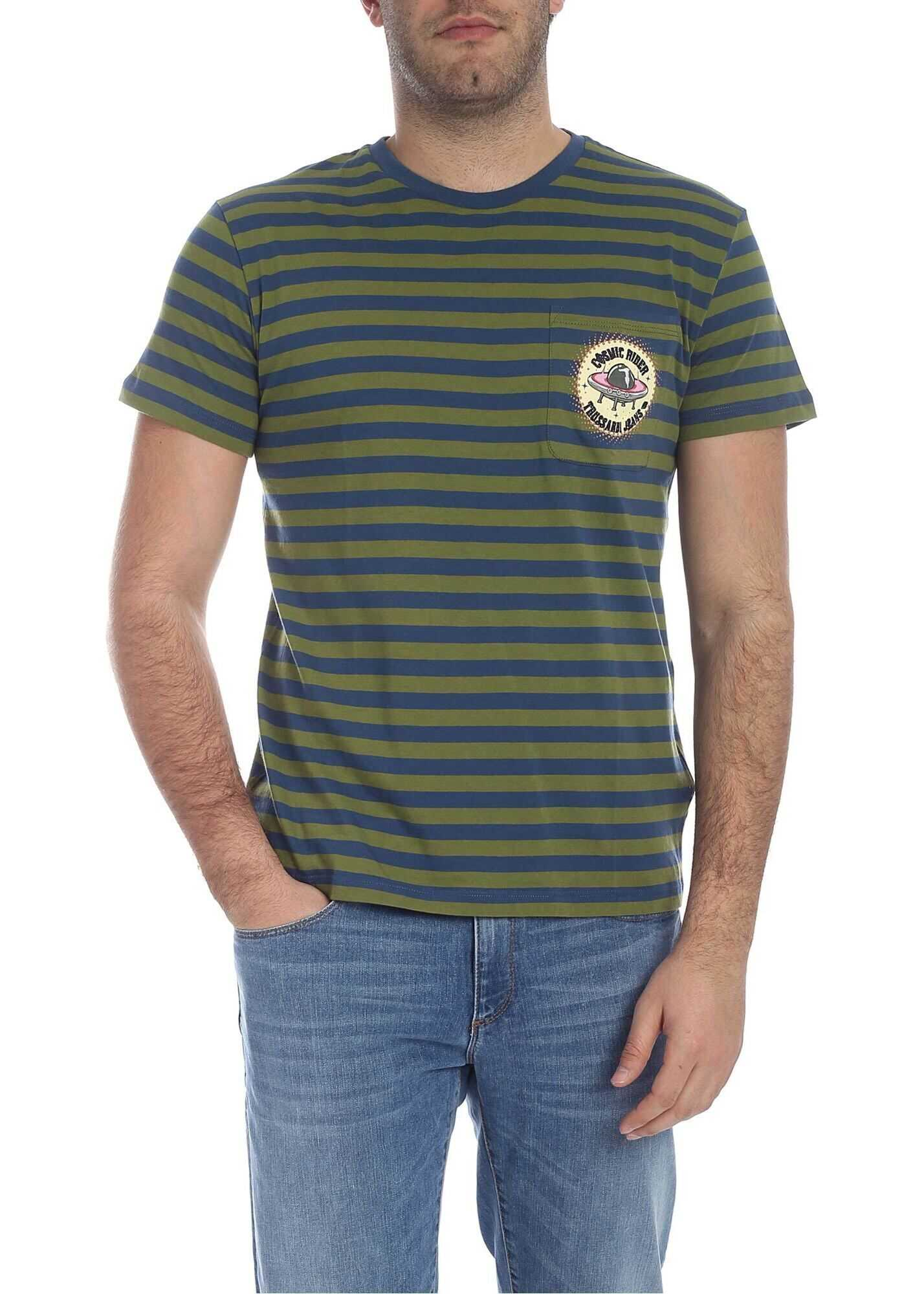 Striped T-Shirt In Green And Blue