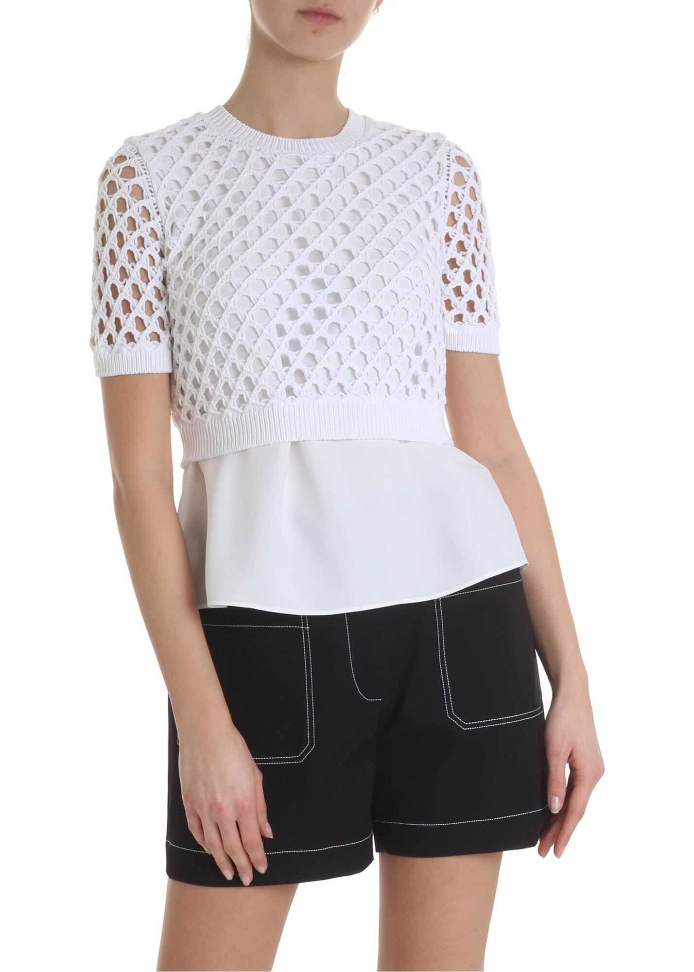 Viscose And Crochet White Top