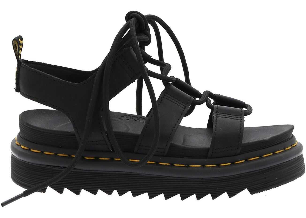 Dr. Martens Black Leather Nartilla Hydro Sandals Black