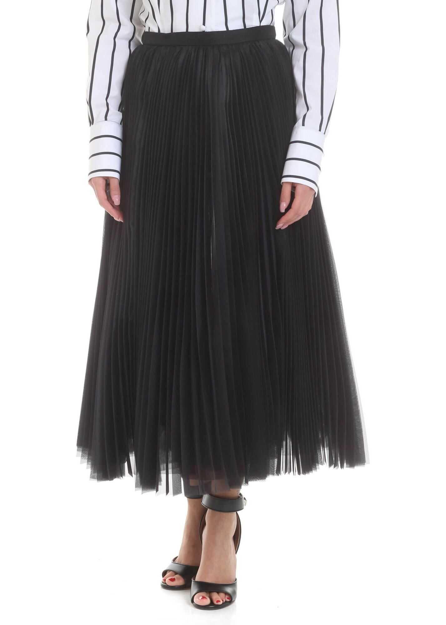 Ermanno Scervino Midi Pleated Skirt In Black Black
