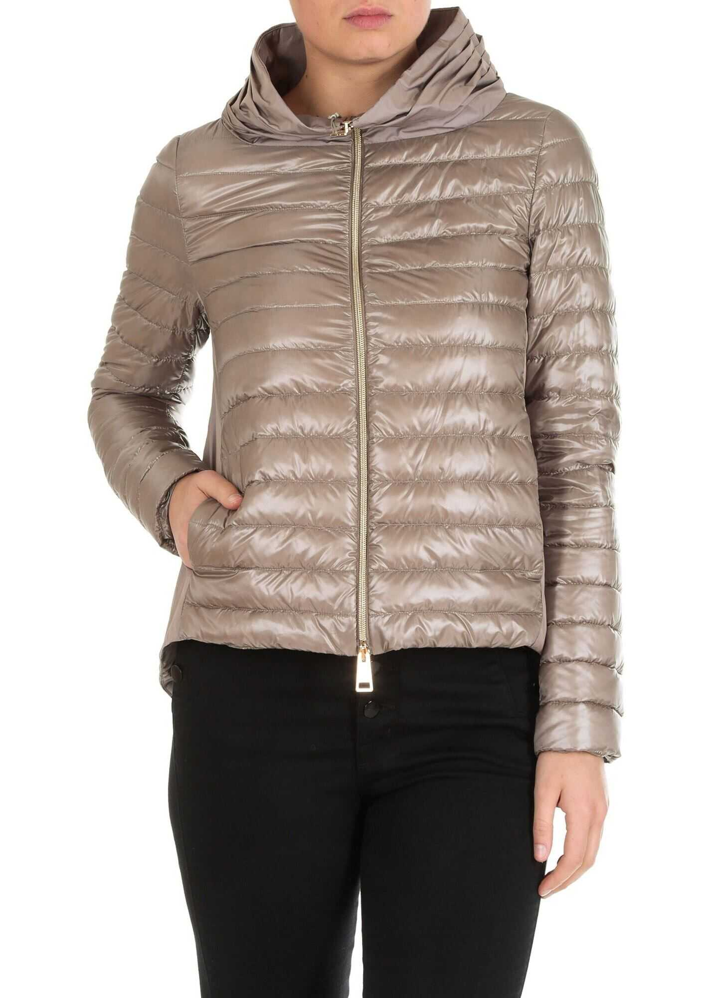 Herno Flared Quilted Down Jacket In Dove Grey Color Grey