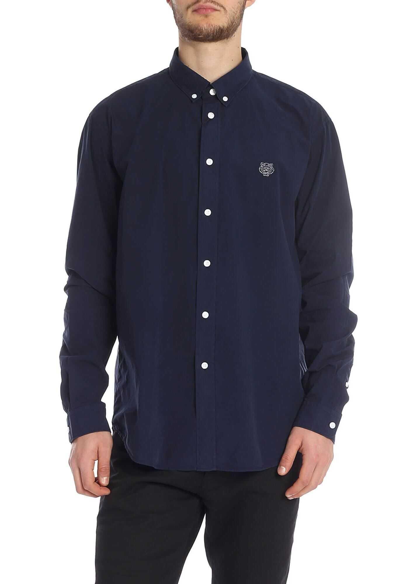 Kenzo Blue Tiger Crest Embroidered Shirt Blue imagine