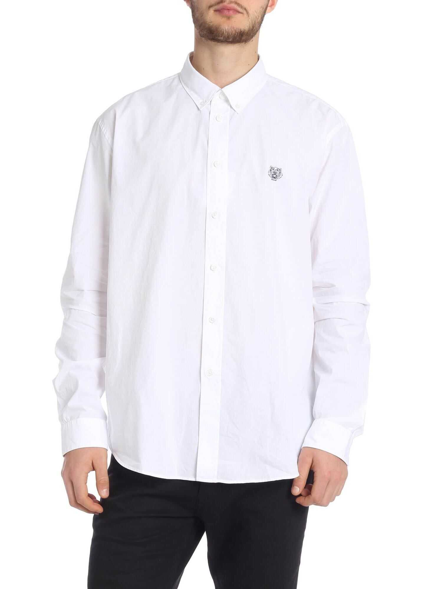 Kenzo White Tiger Crest Shirt With Embroidery White imagine